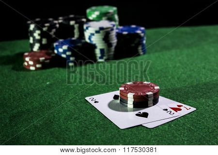 Poker game with bad hand