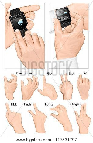 Set of multi-touch gestures for smart-watch. Vector illustration.