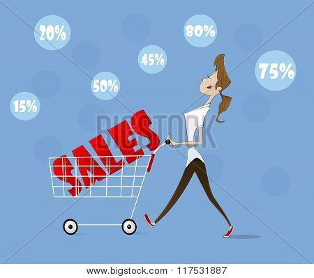 Vector Woman With Trolley.