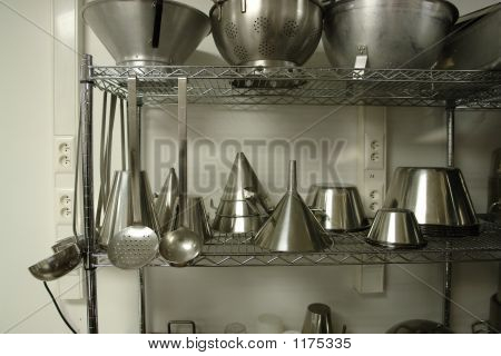 Rack With Professional Cooking Materials