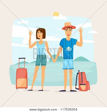 Couple of tourist together on a trip