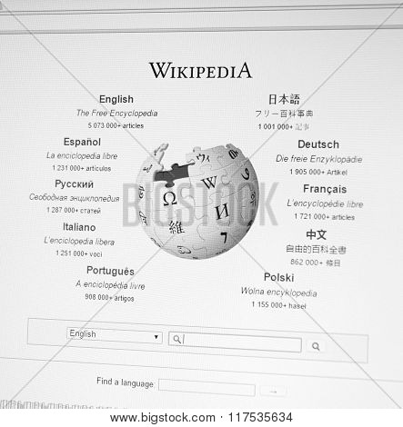 Wikipedia Home Page And Logo.