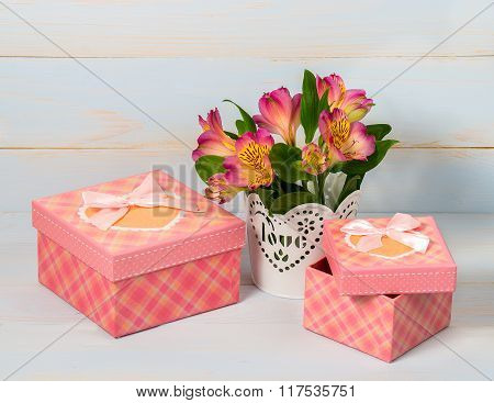Decorative Gift Box And Pot With Flower.