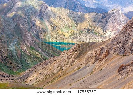 Mountain cliffs and lake