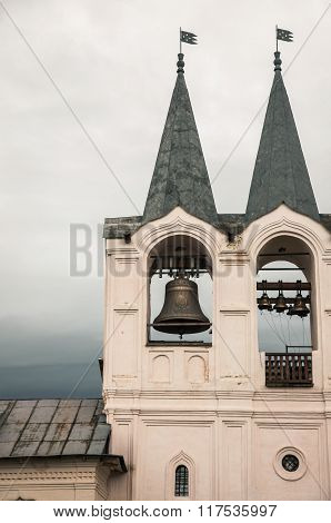 Architecture Detail Of Belltower Of Tikhvin Monastery. Russia