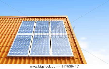 Roof Solar Panels 3D Illustrations