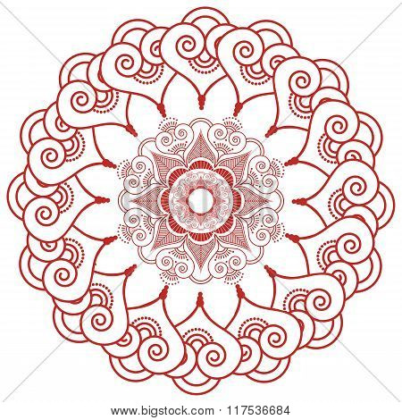 Indian Henna Tatto Inspired Lace Shapes Wreath With Leaves Hearts In Red
