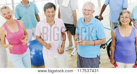 Exercise Balance Senior Adult Workout Activity Gym Concept