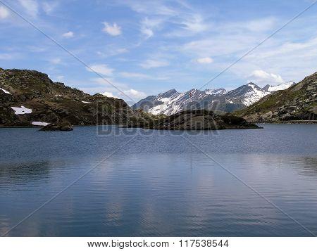 Wonderful Lake San Bernardino In Switzerland.