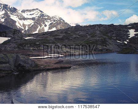 Mountain Lake San Bernardino In Switzerland.