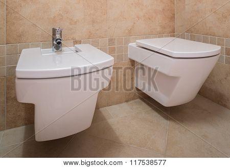 Toilet And Bidet In Modern Design
