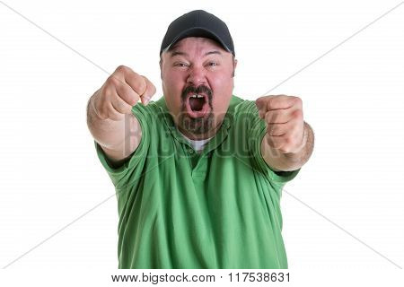 Excited Sports Fan Pumping Fists In Celebration