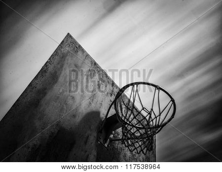 Long Exposure Of Basketball In Black And White