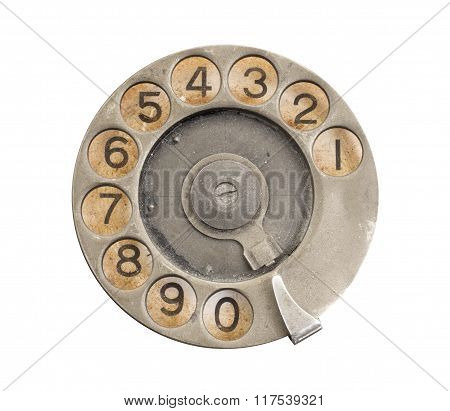 Close Up Of Vintage Phone Dial
