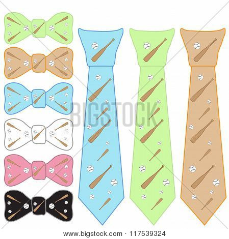 Ties And Bow Tie On A Baseball Theme
