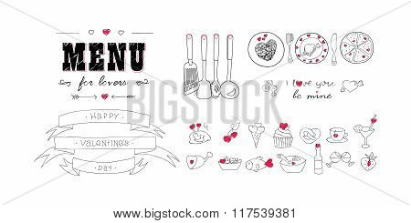 Happy Valentine's day. Menu for lovers. Foods with hearts. Doodle decor elements. Hand drawn