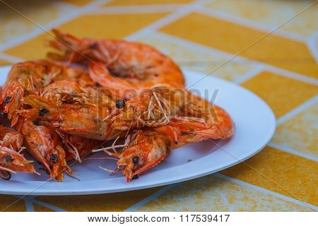 Grilled Prawns On Plate