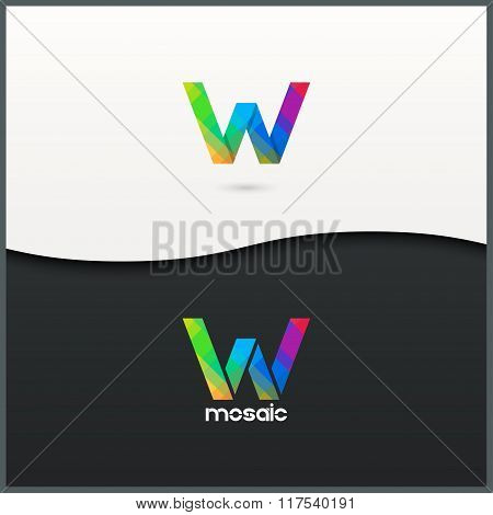 letter W logo alphabet mosaic icon set background