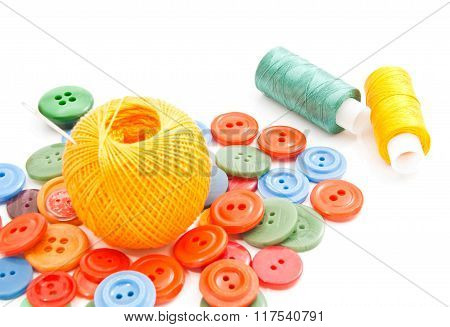 Needle, Colored Buttons And Thread