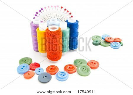 Thread, Buttons And Colored Pins