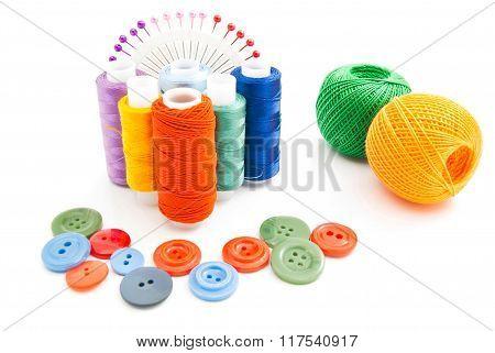 Spools Of Thread, Buttons And Colored Pins