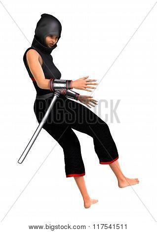 Female Ninja On White
