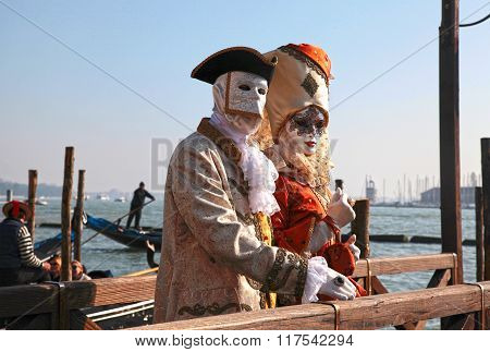 Unidentified Persons In Venetian Mask, Carnival Of Venice, Italy