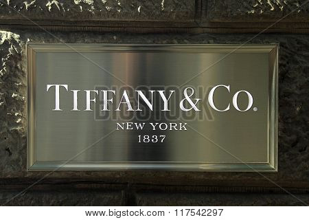 Sign At Tiffany & Co. Luxury Jewellery Retail Store In Florence, Italy