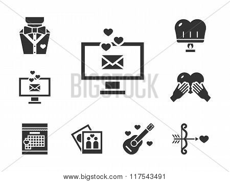 Romance dating black vector icons set
