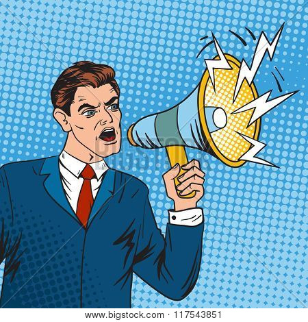 Pop art boss business leader and megaphone vector illustration. Old popart style businessman talking in megaphone. Leader, business situation, sale vector