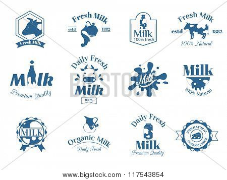 Milk label logo badges collection vector icons. Milk badges, milk product logo set. Milk vector icons isolated on white background