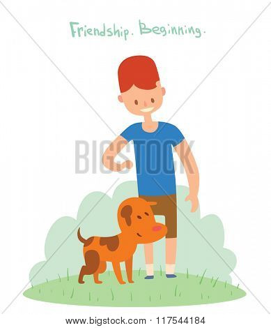 Boy and dog friends vector illustration. Friendship concept vector. Boy and his dog walking together. Young boy and dog pet vector