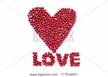 Word Love Laid Out From Berries