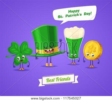 Set of sint patrick day characters. Vector cute cartoons