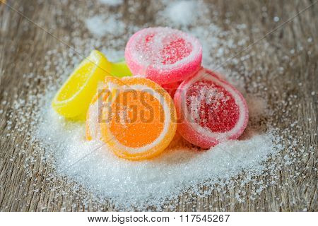Jelly Sweet, Flavor Fruit, Candy Dessert Colorful On Wood Background.