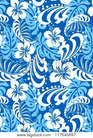 Tropical Blue Abstract Repeat Pattern
