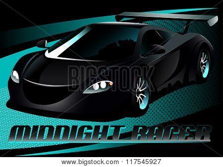 Black Midnight Racer Sports Car