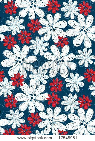 Red And White Floral Flowers With Blue Stitching