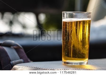 Glass Beer On Background