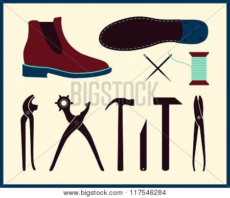 Vector shoe repair illustration. Set of shoemaker tools. Chelsea Boot in flat style.
