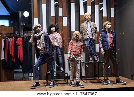Children Mannequins In Warm Clothes In The Shop Window on Khreshchatyk Street