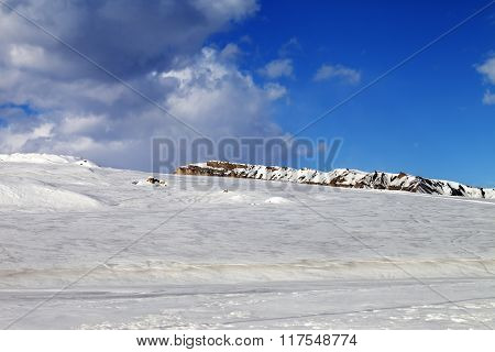 Ice-covered Slope In Sun Day