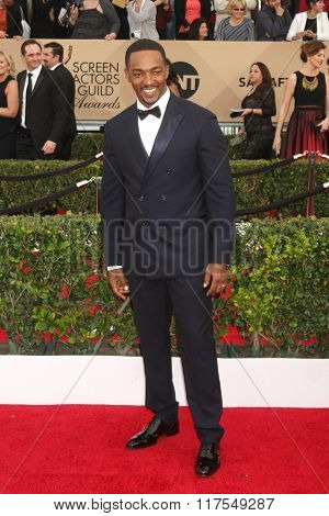 LOS ANGELES - JAN 30:  Anthony Mackie at the 22nd Screen Actors Guild Awards at the Shrine Auditorium on January 30, 2016 in Los Angeles, CA