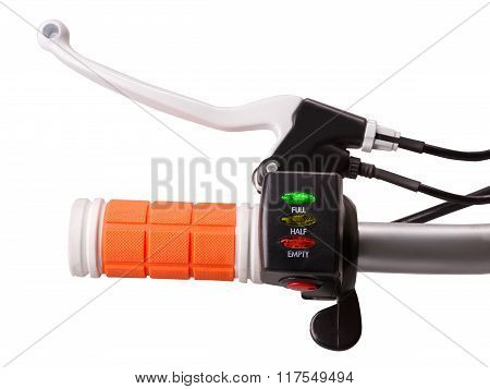 Control Handle Of Electric Bike With Brake Crank Battery Indicator And Power Switch