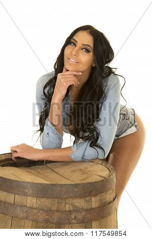 Woman In Denim Shirt Lean On Whisky Barrel Butt Out
