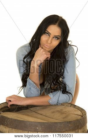 Woman In Denim Shirt Lean On Whisky Barrel Sensual