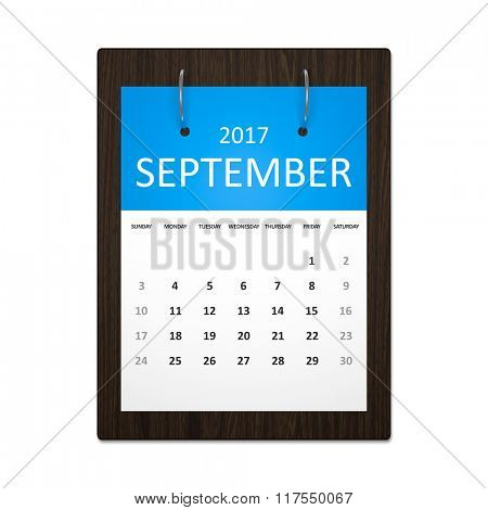 An image of a stylish calendar for event planning 2017 september