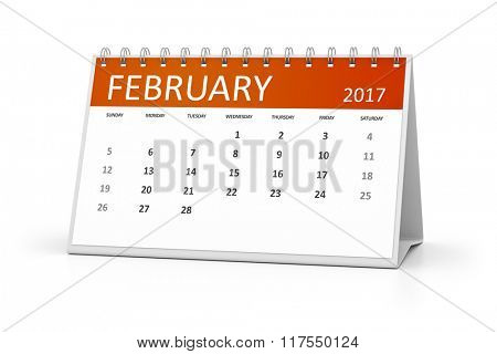 An image of a table calendar for your events 2017 february