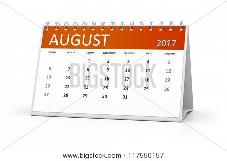 An image of a table calendar for your events 2017 august