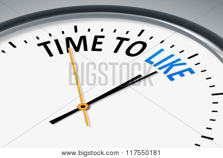An image of a typical clock with text time to like